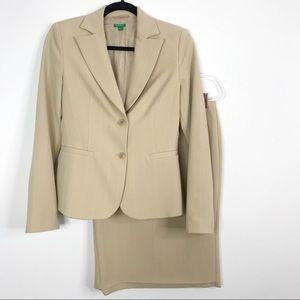 United Colors of Benetton Beige Stripe Skirt Suit